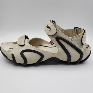 Ecco,  women's sandals, size 7, suede, cream/black